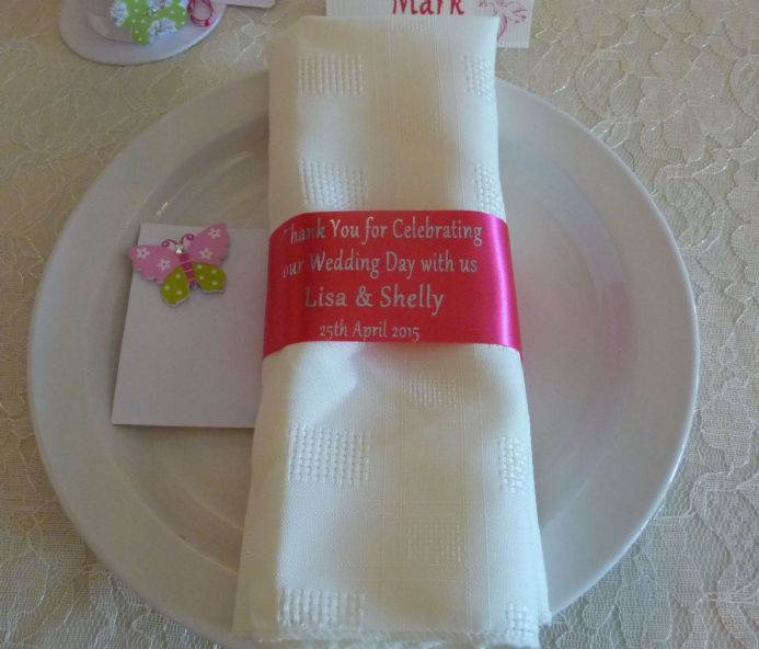 Personalised Place setting ribbon for napkins